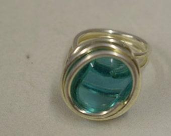 Ring Silver Aquamarine Blue Colored Glass Handmade Glass Silver Jewelry Ring Fun Aquamarine Color Glass Unique