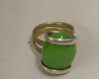 Ring Silver Summer Green Colored Glass Handmade Glass Silver Jewelry Ring Fun Summer Green Color Glass Unique