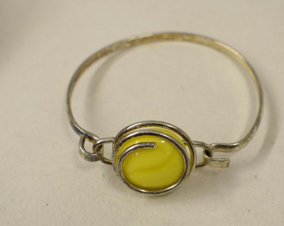 Bracelet Silver Round Yellow Colored Glass Handmade Glass Silver Bracelet Fun Yellow Color Glass Unique