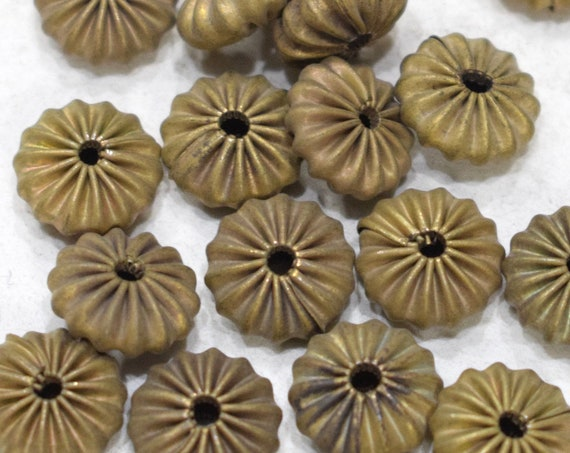 Beads Raw Brass Fluted Round Beads 10mm