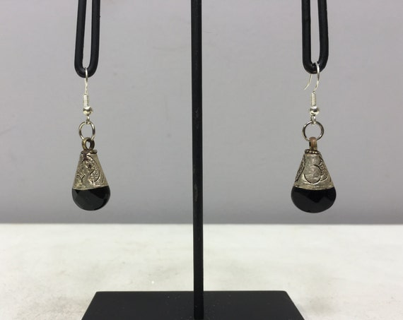 Earrings Tibetan Silver Handmade Black Onyx Crystal Dangle Etched Silver Teardrop Black Onyx Stone  Unique E154