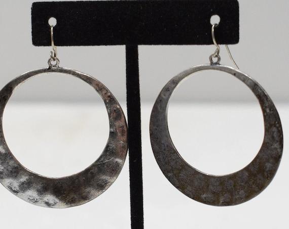 Earrings Turkish Pewter Hammered Hoop Earrings