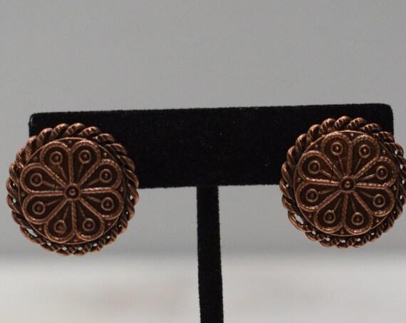 Earrings Copper Button Clip Earrings