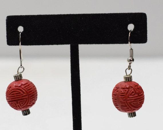 Earrings Red Chinese Cinnabar Earrings