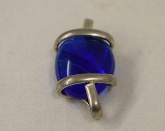 Pendant Silver Royal Blue Colored Glass Handmade Glass Silver Jewelry Necklace Bracelet Fun Royal Blue Color  Glass Unique