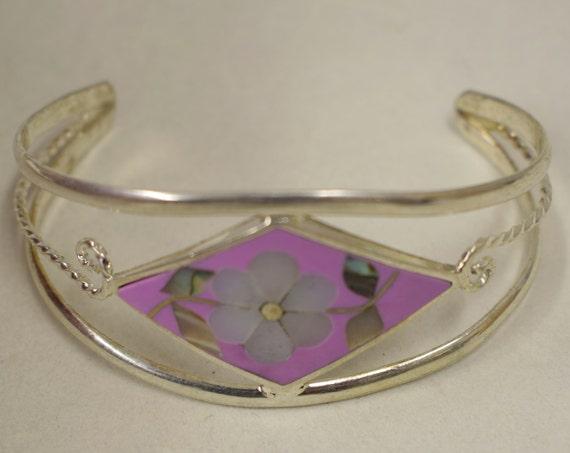Bracelet Silver Wrist Cuff Shell Mother Pearl Flower Vintage Pink Enamel Bracelet Handmade Silver Pink  Enamel Shell Cuff Bracelet