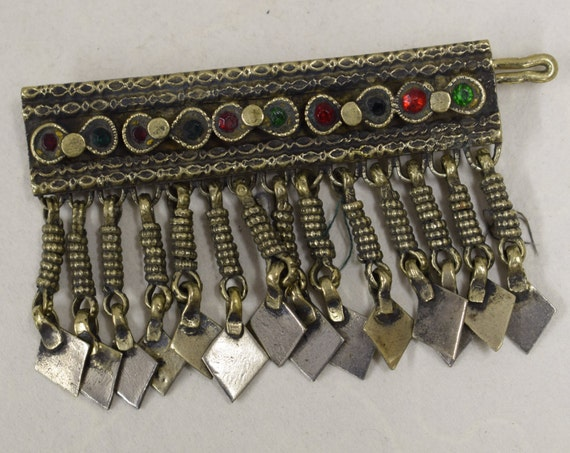 Barrette Hair Middle Eastern Silver Brass Kuchi Red Green Glass Handmade Jewelry Belly Dancing Hair Ornament Unique Kuchi Dangle