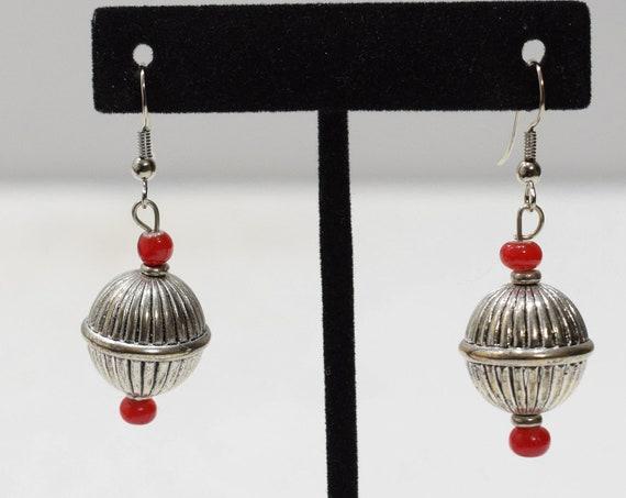 Earrings Fluted Silver Dangle Earrings