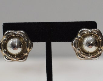 Earrings Gold Silver Flower Clip Earrings