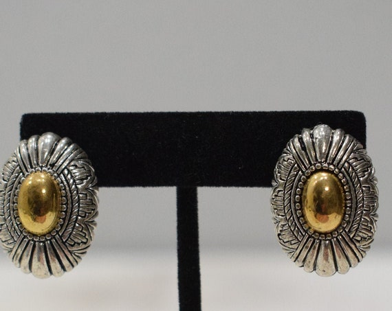Earrings Gold Silver Oval Clip Earrings
