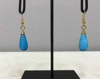 Earrings Tibetan Teardrop Blue Dyed Howlite Dangle Handmade Gold Wire Blue Howlite Stone Unique E140