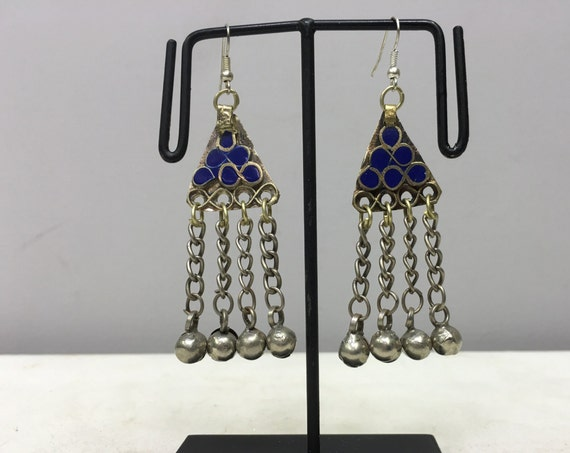 Earrings Silver Middle Eastern Lapis Dangle Silver Bells Handmade Silver Lapis Earrings Etched Bell Dangle Unique E163