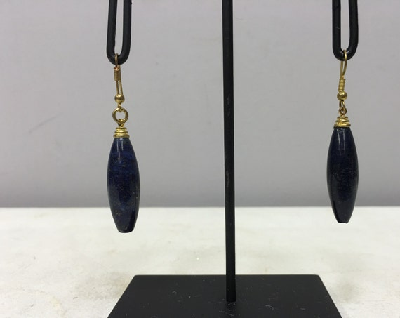 Earrings Tibetan Teardrop Dark Blue Sodalite Dangle Handmade Gold Wire Dark Blue Sodalite Stone Unique E141
