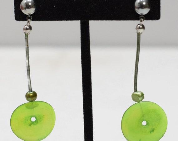 Earrings Green Plastic Disc Post Earrings