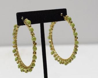 Earrings Lime Green Bead Hoop Earrings