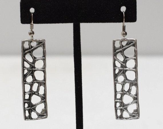 Earrings Turkish Pewter Rectangle Dangle Earrings