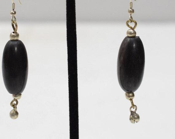 Earrings Black Horn Silver Earrings