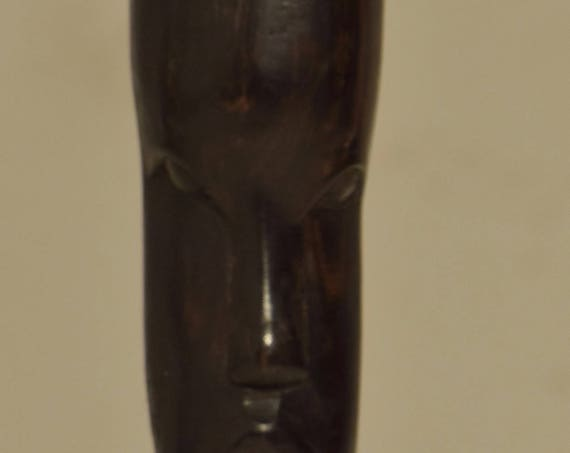 African Ebony Wood Carved Female Bust Statue Tanzania Male Carving Statue