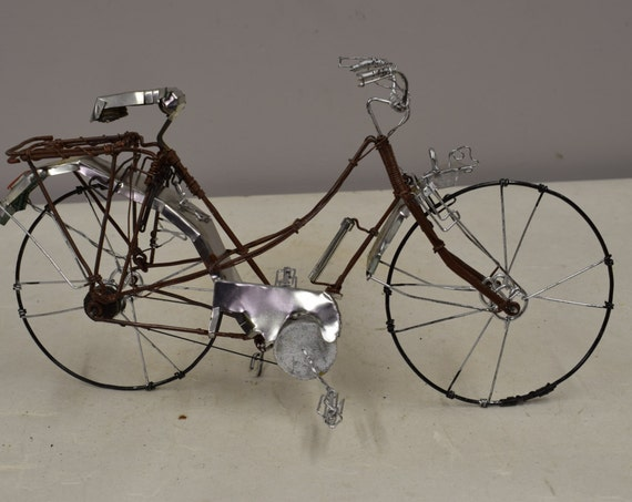 Bicycle African Recycled Tin Can Brown Wire Wheel Bicycle Tanzania Handmade Recycled Tin Bicycle Boys Toys Cars Trucks Unique One of a Kind