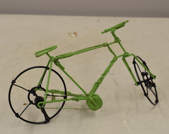Bicycle African Recycled Lime Green Wire Black Wheel Bicycle Tanzania Handmade Recycled Tin Bicycle Boys Toys Cars Trucks One of a Kind