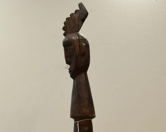 African Walking Stick Hand Carved Face Wood GoGo Tribe Wood Walking Stick