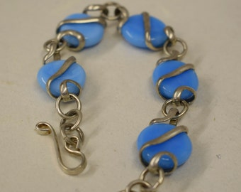 Bracelet Silver Baby Blue Glass Adjustable Handmade Blue Glass Silver Jewelry Bracelet Fun Colorful Unique