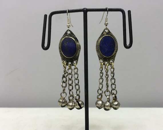 Earrings Silver Middle Eastern Lapis Dangle Silver Bells Handmade Silver Oval Lapis Earrings Belly Dance Bell Dangle Unique E168