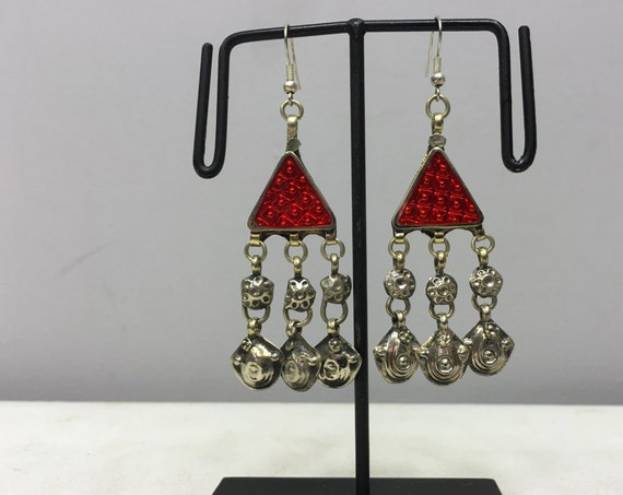 Earrings Silver Middle Eastern Triangle Red Plastic Reflector Light Dangle Charms  Handmade Silver Red Belly Dance Charms Dangle Unique E180