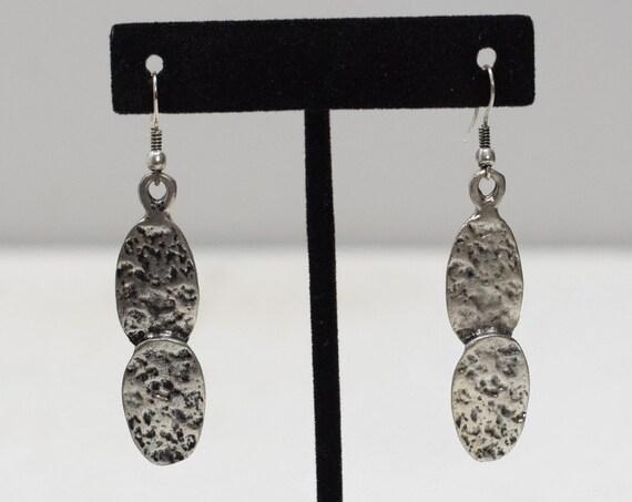 Earrings Turkish Pewter Oval Dangle Earrings