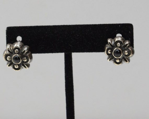 Earrings Sterling Silver Onyx Post Earrings