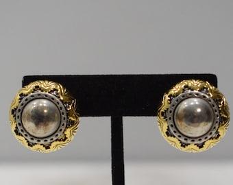 Earrings Gold Silver Fluted Clip Earrings