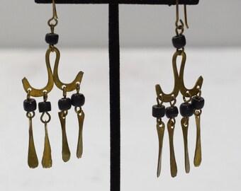 Earrings African Brass Black Glass Earrings