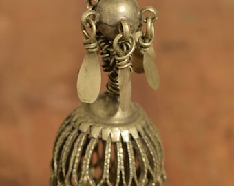 "Beads Silver Earring Kuchi Swat Silver Single Tribal Jewelry Middle Eastern Kuchi  5  1/2"""