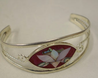 Bracelet Silver Wrist Cuff Shell Mother Pearl Flower Red Enamel Bracelet