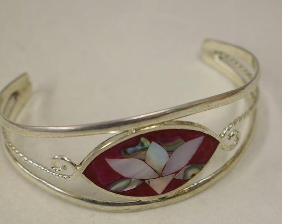Bracelet Silver Wrist Cuff Shell Mother Pearl Flower Red Enamel Bracelet