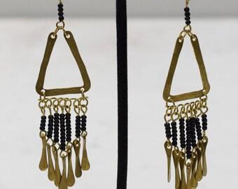Earrings African Black Glass Triangle Earrings