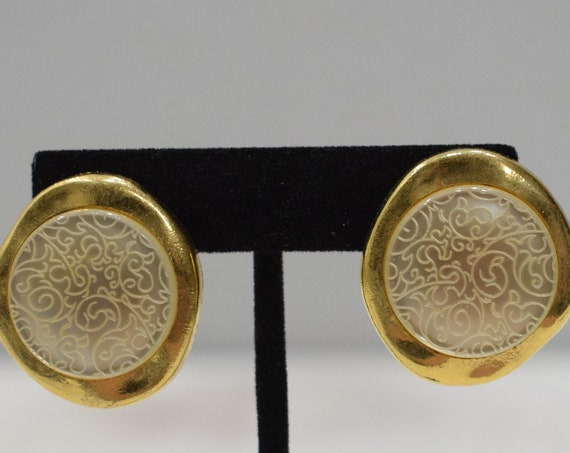 Earrings Etched Lucite Clip Earrings