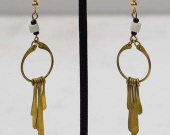 Earrings African Brass White Hoop Earrings