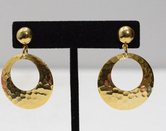 Earrings Hammered Gold Post Hoops