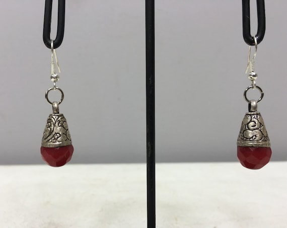 Tibetan Earrings Silver Coral Crystal Handmade Handcrafted Red Coral Dangle Etched Silver Teardrop Coral Stone Unique E128