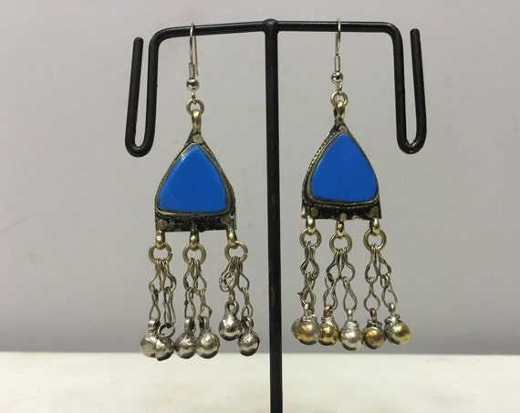 Earrings SilverMiddle Eastern Blue Glass Triangle Dangle Silver Bells  Handmade Silver Earrings Belly Dance Blue Bells Dangle Unique E188