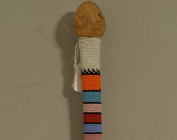 African Zulu Beaded Dance Stick Handmade Blue Yellow Red Green Beaded Dance Ceremony Men Power Zulu Dance Stick