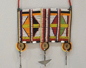 African Masai Beaded Necklace Kenya Vintage 21""