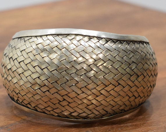Bracelet Miao Hill Tribe Woven Silver Cuff