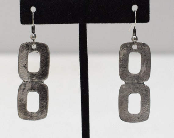 Earrings Turkish Pewter Square Dangle Earrings