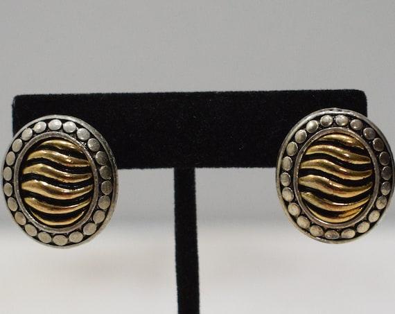 Earrings Gold Silver Ridged Oval Clip Earrings