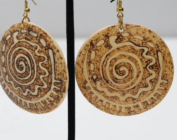 Earrings Etched Coconut Round Earrings