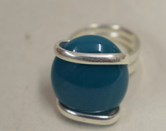 Ring Silver Blue Green  Colored Glass Handmade Glass Silver Jewelry Ring Fun Blue Green Color Glass Unique