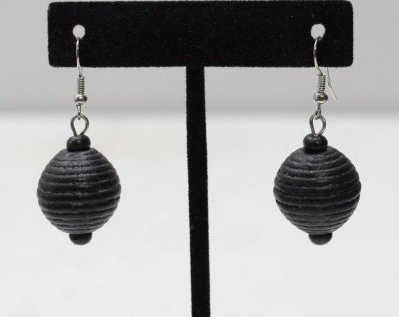Earrings Black Twine Dangle Earrings