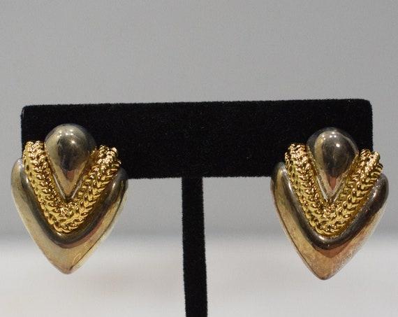 Earrings Gold Silver Heart Clip Earrings